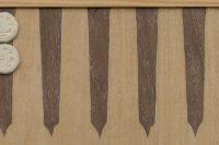 Mittelalterspielzeug: Wurfzabel, Backgammon, Detail Spielbrett (furniert)